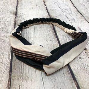 Knotted Boho Headband Black and White Stripes